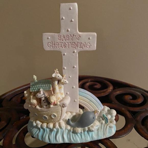 Noah's Menagerie Pink Baby's Christening Cross